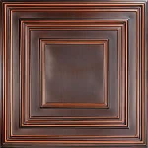 Schoolhouse Antique Copper 2 ft. x 2 ft. PVC Glue-up or Lay-in Faux Tin Ceiling Tile (100 sq. ft./case)