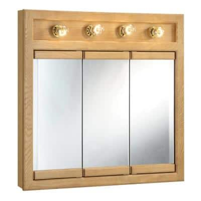 Richland 30 in. x 30 in. x 5 in. Surface-Mount 4-Light Tri-View Bathroom Medicine Cabinet in Nutmeg Oak