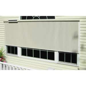 Bali Essentials Desert Sand Cordless Light Filtering Motorized Vinyl Horizontal Exterior Roll Up Shade 144 In W X 84 In L 22512 The Home Depot