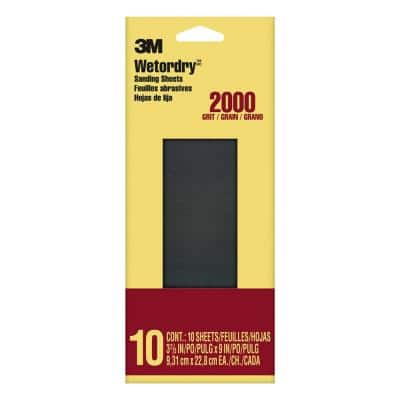 3-2/3 in. x 9 in. 2000 Grit Sandpaper (10 Sheets-Pack)
