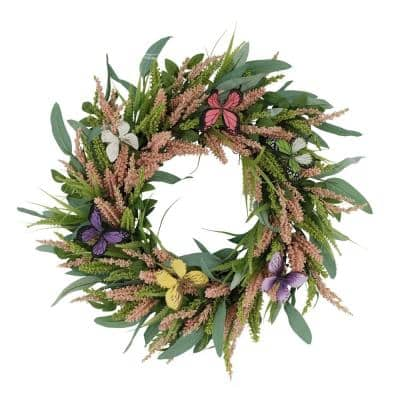 24 in. Artificial Salix Leaf with Butterfly Floral Spring Wreath
