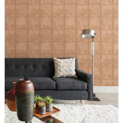 Clearlake, Riveted Copper Industrial Tile Paper Strippable Wallpaper Roll (Covers 56.4 sq. ft.)
