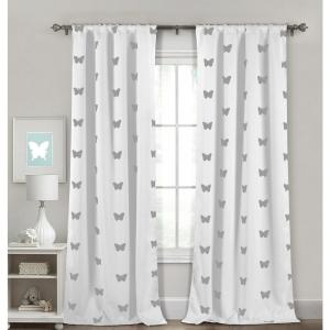 Pattern White Polyester Blackout Pole Top Window Curtain 38 in. W x 84 in. L (2-Pack)