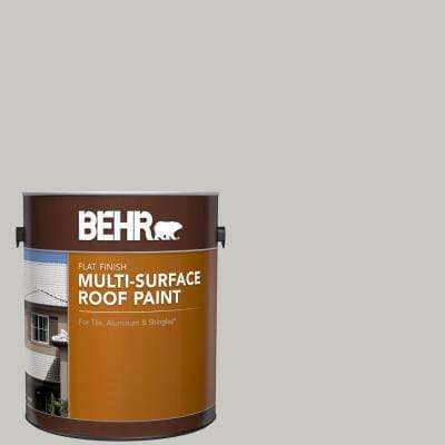 1 gal. #MS-79 Silver Gray Pebble Flat Multi-Surface Exterior Roof Paint