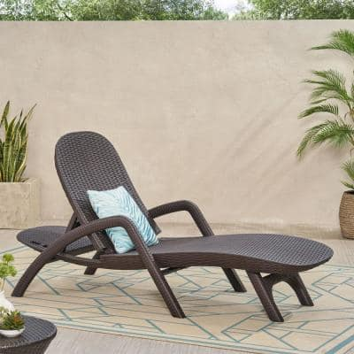 Mikael Dark Brown 1-Piece Plastic Outdoor Chaise Lounge