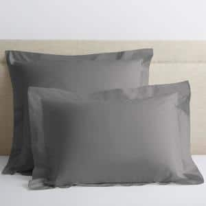 Classic Storm Gray Solid 210-Thread Count Cotton Percale Euro Sham