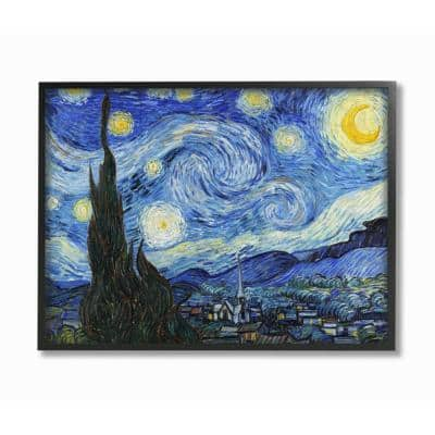"""16 in. x 20 in. """"Van Gogh Starry Night Post Impressionist Painting"""" by Vincent Van Gogh Framed Wall Art"""