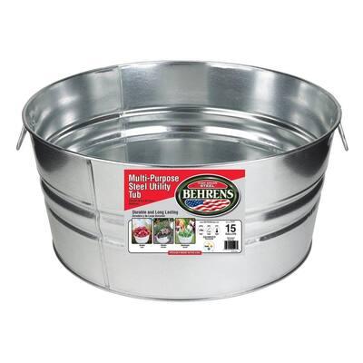 15 Gal. Galvanized Steel Round Tub