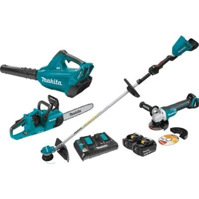 18-Volt X2(36V) LXT Lithium-ion Brushless Cordless 3-Pc Kit (Blower/String Trimmer/Chain Saw)5.0Ah and Brushless Grinder