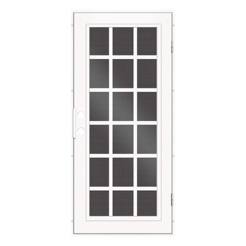 Unique Home Designs 36 In X 80 In Classic French White Left Hand Surface Mount Aluminum Security Door With Black Perforated Screen 1s2026el1whp5a The Home Depot