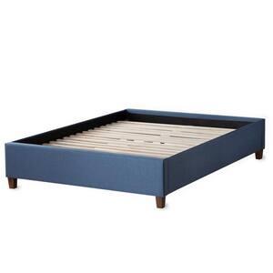 Ava Navy King Upholstered Platform Bed with Slats