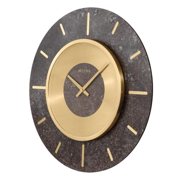 Bulova Oversized 23 In Gallery Wall Clock With Brushed Brass Bezel C4116 The Home Depot