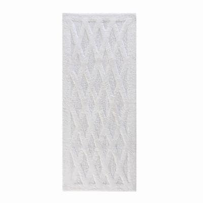 Alderbury White 24 in. x 60 in. Geometric Cotton Bath Mat