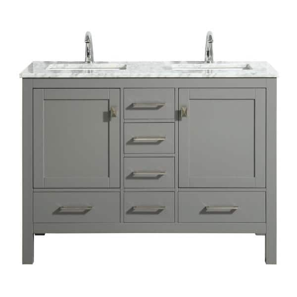 Eviva London 48 In X 18 In Transitional Gray Bathroom Vanity With White Carrara Marble And Double Porcelain Sinks Tvn414 48x18gr Ds The Home Depot