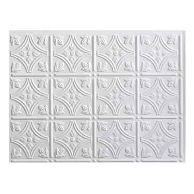 18 in. x 24 in. Traditional #1 Gloss White Vinyl Backsplash Panel (Pack of 5)