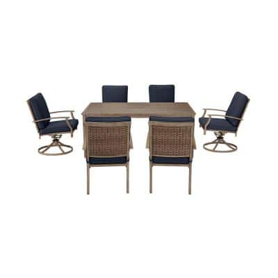 Geneva 7-Piece Brown Wicker Outdoor Patio Dining Set with CushionGuard Midnight Navy Blue Cushions