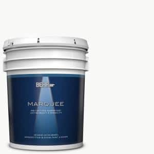 Behr Marquee 5 Gal Ultra Pure White Satin Enamel Interior Paint Primer 745005 The Home Depot