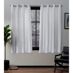 Forest Hill White 52 in. W x 63 in. L Grommet Top Room Darkening Black Out Curtain Panel (Set of 2)