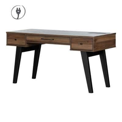 Helsy 30.25 in. x 59.5 in. x 23.5 in. Natural Walnut 3-Drawer Computer Desk