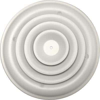 8 in. Round Ceiling Air Vent Register, White with Fixed Cone Diffuser and Bowtie Damper