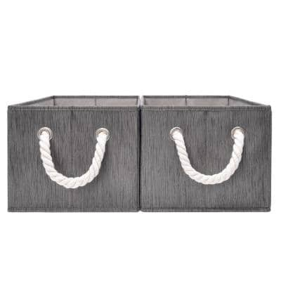 5-Gal. Rectangle Polyester Storage Bin with Cotton Rope Handles in Slate (Set of 2)
