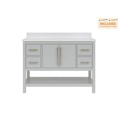 Glovemont 48 in. W x 22 in. D Bath Vanity in Light Gray with Engineered Vanity Top in White with White Basin