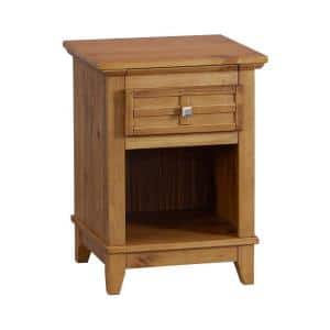 Rustic Brown Wooden Nightstand with 1-Drawer and Bottom Shelf 15.98 in. L x 17.99 in. W x 24.02 in. H