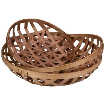 Brown Lattice Tobacco Rustic Table Top Baskets (Set of 3) (Set of 3)