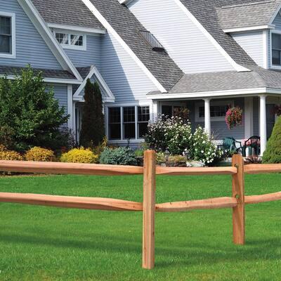 3-1/2 in. x 3-1/2 in. x 5 ft. 2-Hole Red Cedar Split Rail Fence Line Post