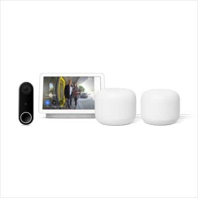 Nest Hello Video Doorbell Plus Nest Hub 7 in. Smart Display Chalk Plus Nest Wi-Fi Router and Add-on Point Snow