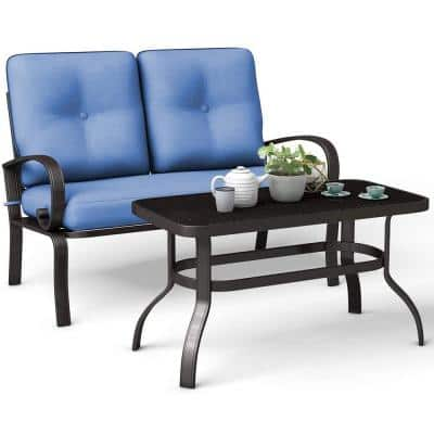 Patio Black 2-Piece Metal OUtdoor Seational Set with Blue Cushions