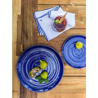 16-Piece Casual Blue Earthenware Dinnerware Set (Service for 4)