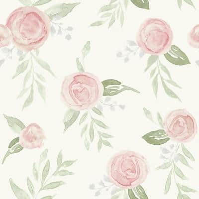 Watercolor Roses Coral Paper Pre-Pasted Washable Wallpaper Roll (Covers 56 Sq. Ft.)