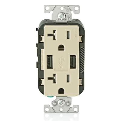 Decora 20 Amp Tamper Resistant Duplex Outlet and 3.6 Amp USB Outlet, Ivory