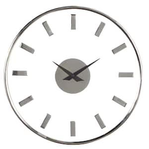 Silver Aluminum Modern Wall Clock