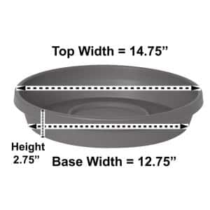 Terra 14.75 in. Charcoal Plastic Plant Saucer Tray