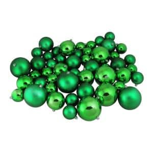 Xmas Green Shiny and Matte Shatterproof Christmas Ball Ornaments (50-Count)
