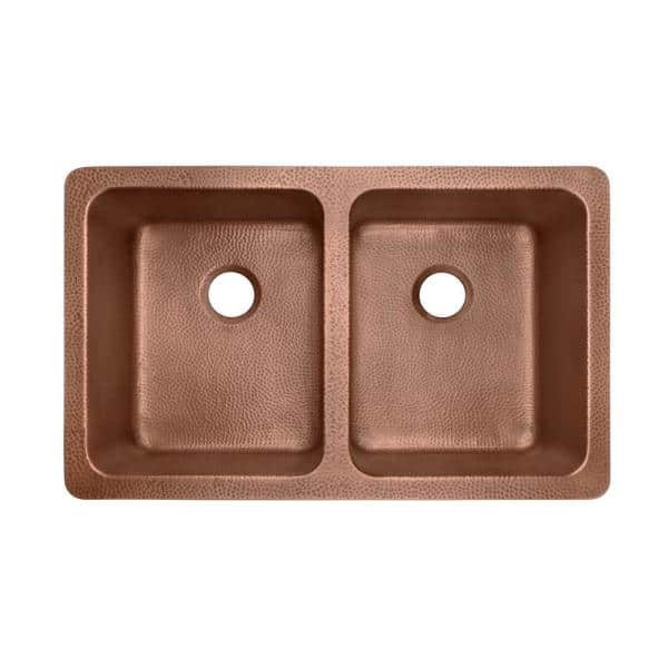 Sinkology Adams Farmhouse Apron Front Handmade Copper 36 In 50 50 Double Bowl Kitchen Sink In Hammered Antique Copper Sk311 36ac The Home Depot