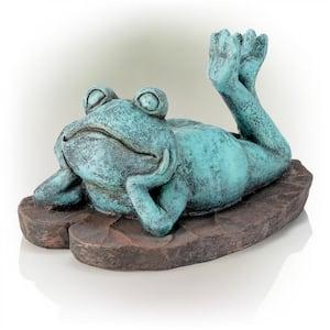 9 in. Tall Indoor/Outdoor Sunbathing Frog Garden Statue Decoration, Multicolor