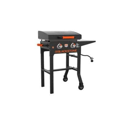 On The Go 2-Burner Propane Gas Grill 22 in. Flat Top Griddle in Black with Hood