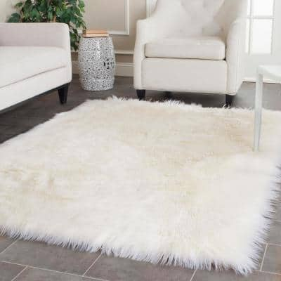 Faux Sheep Skin Ivory 5 ft. x 8 ft. Gradient Solid Area Rug