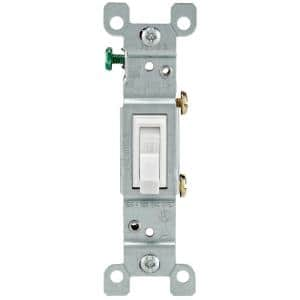 15 Amp Single-Pole Toggle Light Switch, White