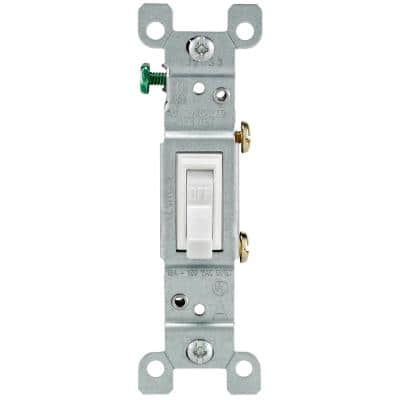 15 Amp Single-Pole Toggle Light Switch, White