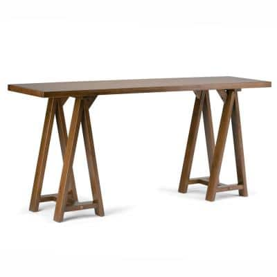 Sawhorse 66 in. Medium Saddle Brown Standard Rectangle Wood Console Table