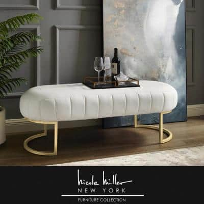 Mohit White/Gold Leather Bench with Metal Base