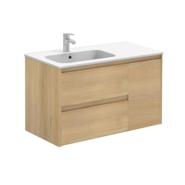 Ws Bath Collections Ambra 35 6 In W X 18 1 In D X 22 3 In H Bathroom Vanity Unit In Nordic Oak With Vanity Top And Basin In White Ambra 90 No The Home Depot