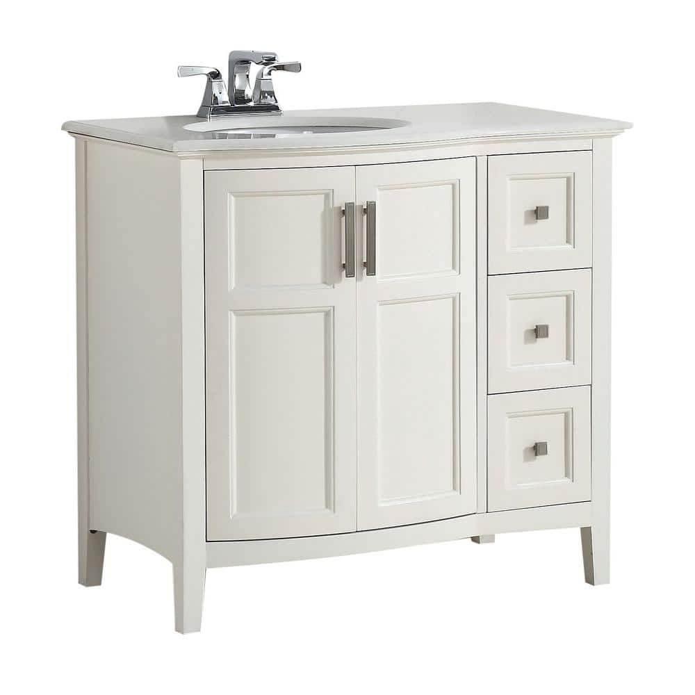 Brooklyn Max Wilshire 36 In Bath Vanity In Pure White With Engineered Quartz Marble Vanity Top In Bombay White With White Basin Bmvrwinrfw 36 The Home Depot