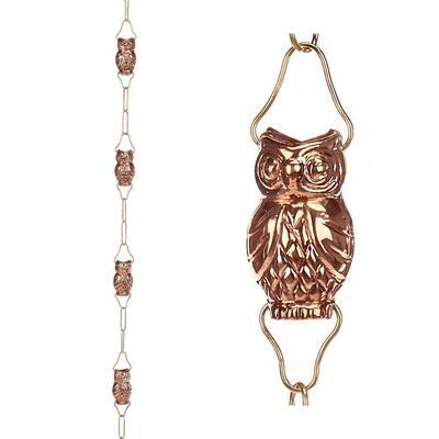 9-Cup Owl Pure Copper 8.5 ft. Rain Chain