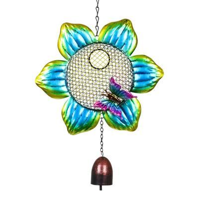 9 in. x 22.5 in. Metal Solar Hanging Mesh Flower Bird Feeder