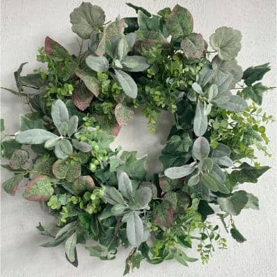 26 in. Unlit Green Artificial Wreath with Large Lambs Ear Green Foliage